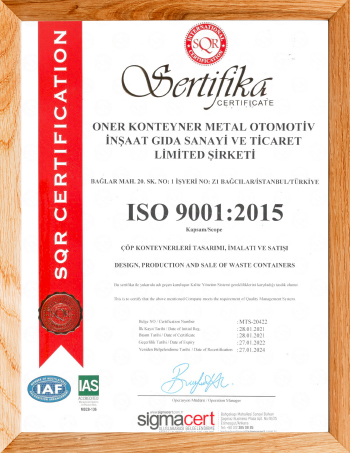 oner waste containers - certificates